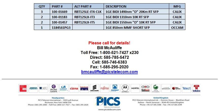 Calix SFP For Sale Bottom