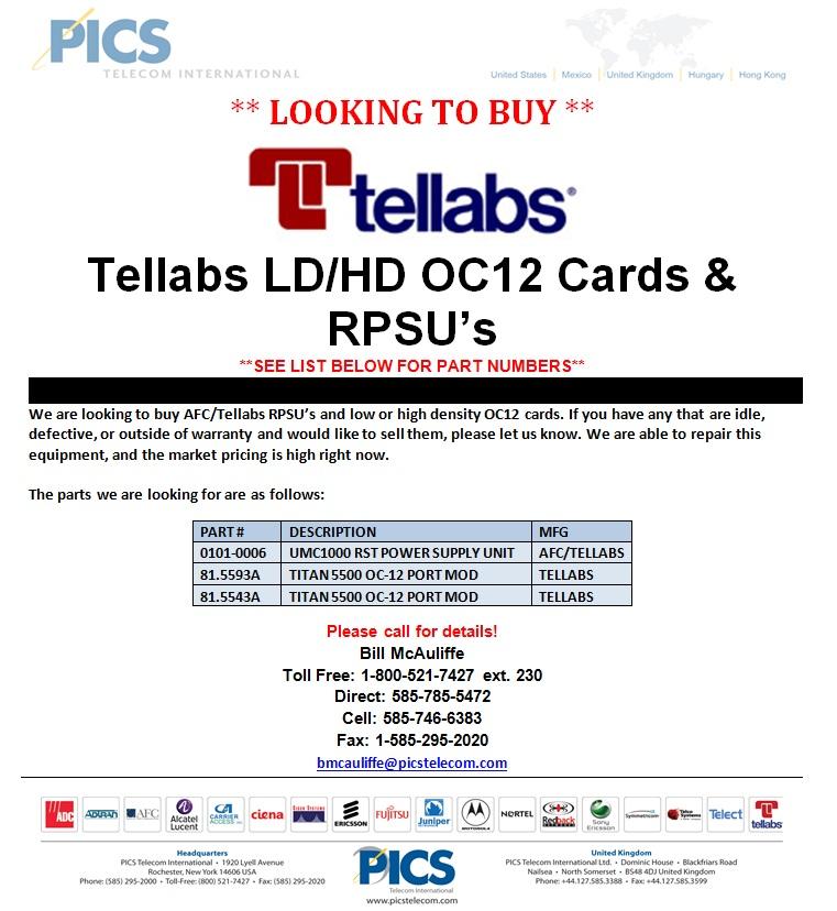 Tellabs AFC OC12 Cards & RPSU LTB