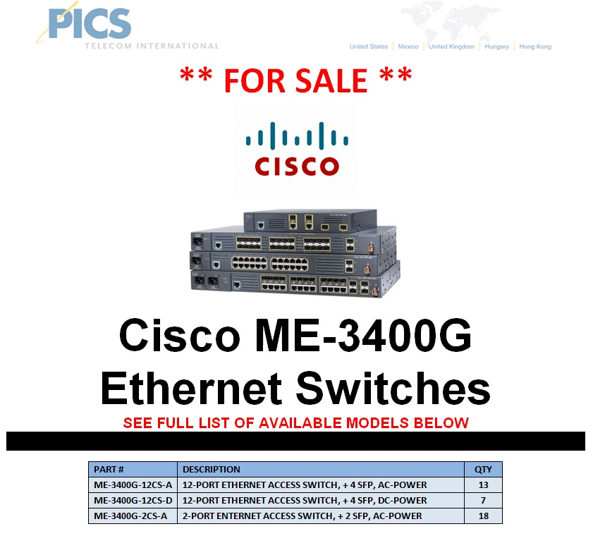 Cisco ME-3400G Ethernet Switches For Sale Top