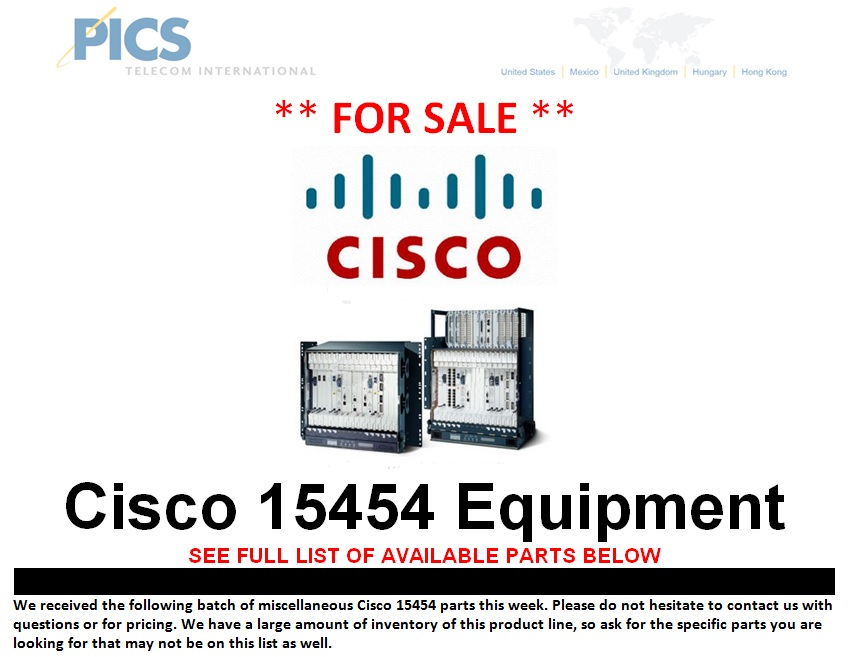 Cisco 15454 Equipment For Sale Top(4.4.13)