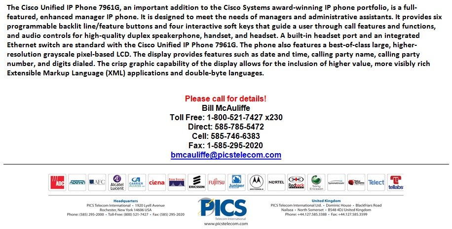Cisco 7961G IP Phone For Sale Bottom (4.9.13)