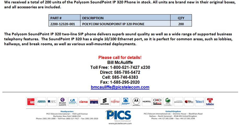 Polycom SoundPoint IP 320 Phones For Sale Bottom (4.10.13)