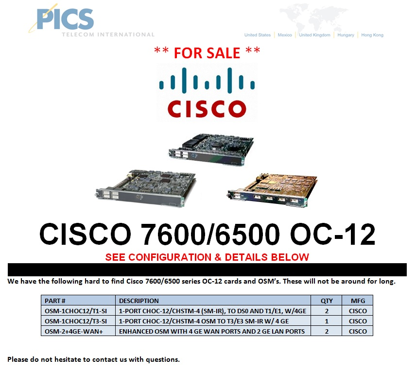 Cisco 7600-6500 Series OC-12 For Sale Top (5.7.13)