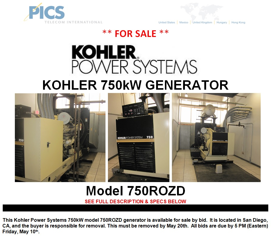 Kohler 750kW Generator Bid For Sale Top (5.3.13)