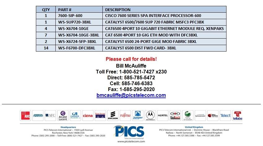 Cisco 7600 & 6500 Accessories For Sale Bottom (7.16.13)