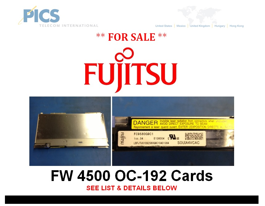 Fujitsu FW 4500 OC-192 Cards For Sale Top (7.9.13)
