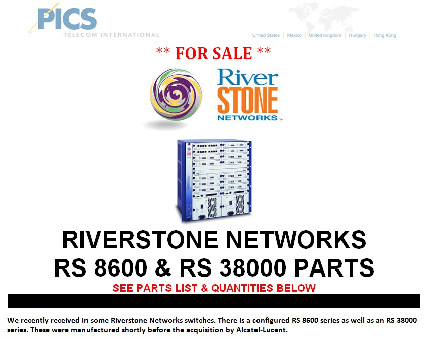 Riverstone Networks For Sale Top (7.16.13)