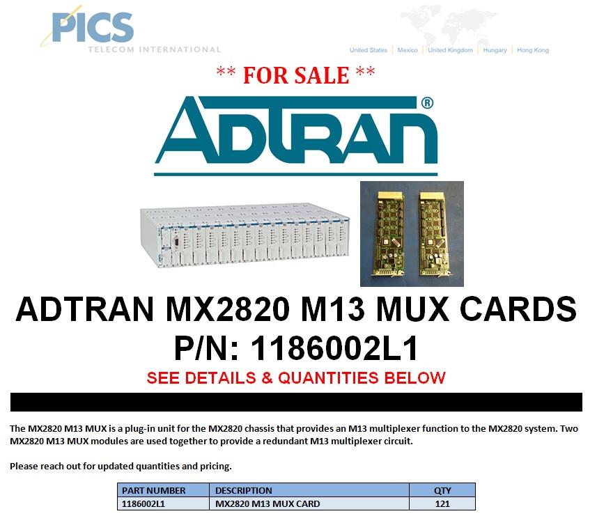 Adtran MX2820 M13 MUX Cards For Sale Top (8.22.13)
