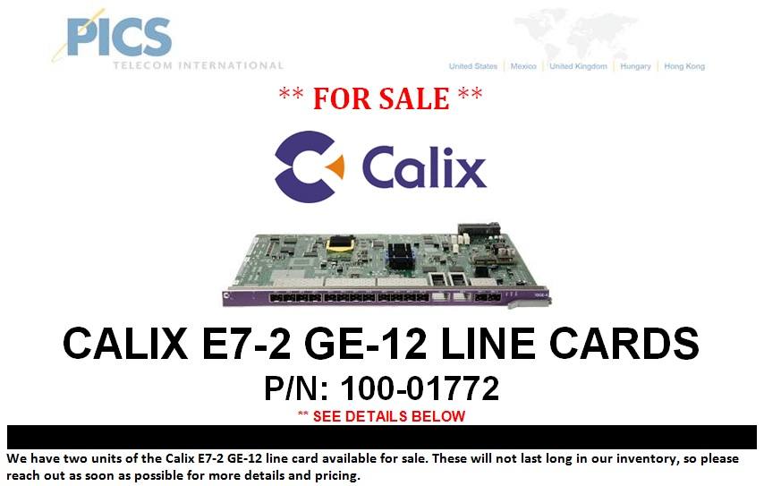 Calix E7-2 GE-12 Line Card For Sale Top (9.26.13)