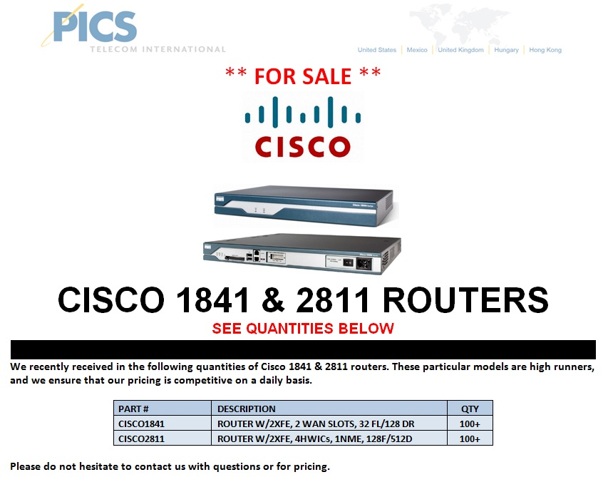Cisco 1841 & 2811 Routers For Sale Entire (10.30.13)