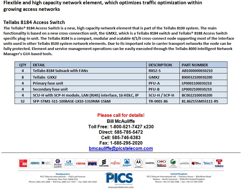 Tellabs 8184 Access Switch For Sale Bottom (11.8.13)