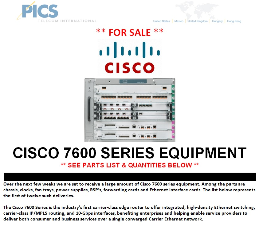 Cisco 7600 Series Equipment For Sale Top (1.13.14)