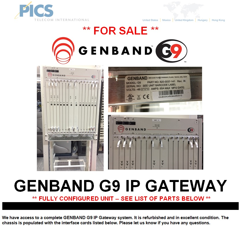 GENBAND G9 System For Sale Top (1.29.14)