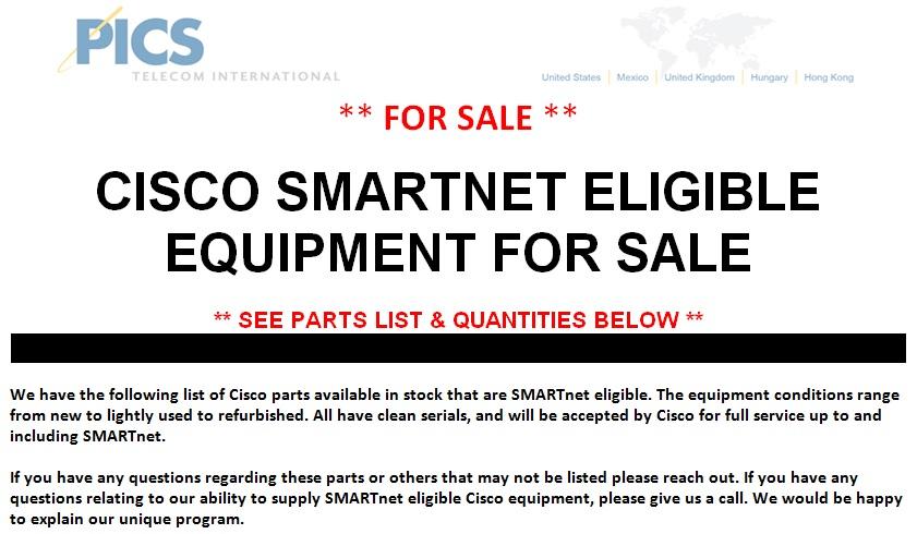 Cisco SMARTnet Eligible Equipment For Sale (3.28.14)