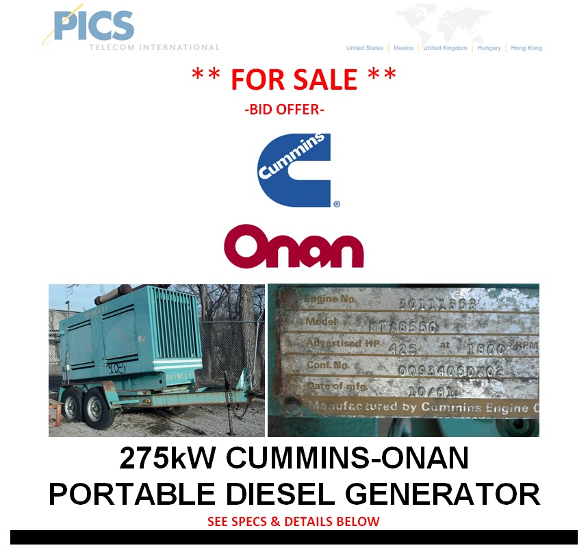 Cummin-Onan 275kW Portable Diesel Generator For Sale Top (3.28.14)