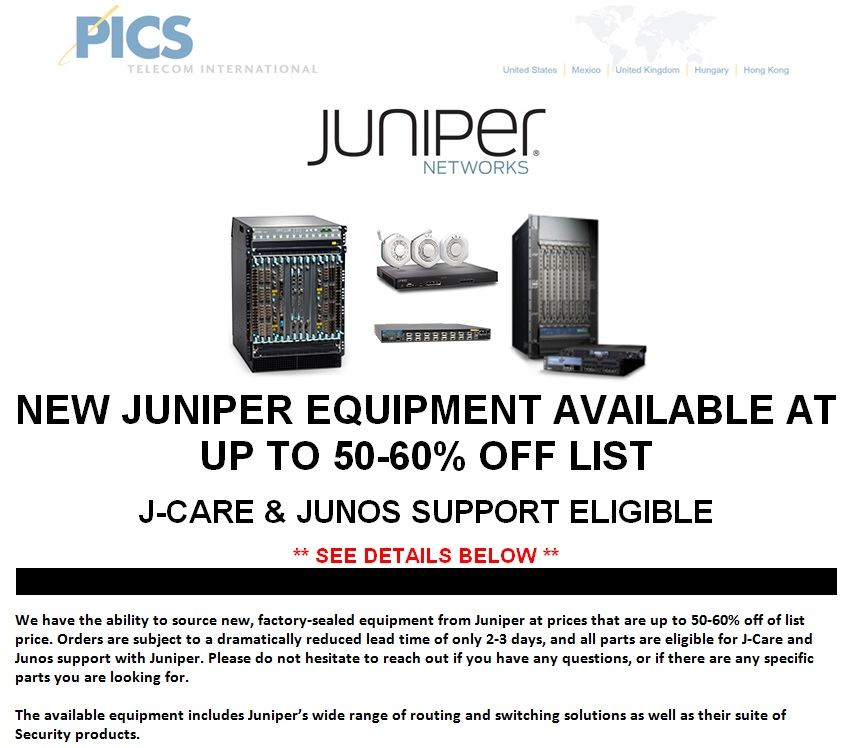 Juniper New Equipment Off List For Sale Top (4.21.14)