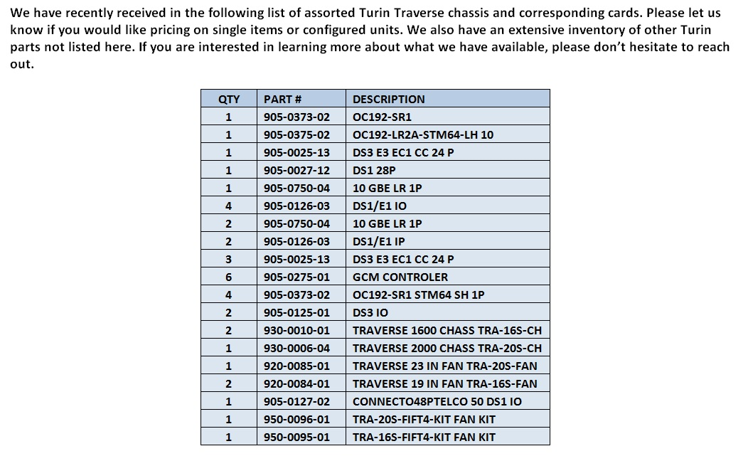 Turin Traverse Parts For Sale Bottom (5.29.14)