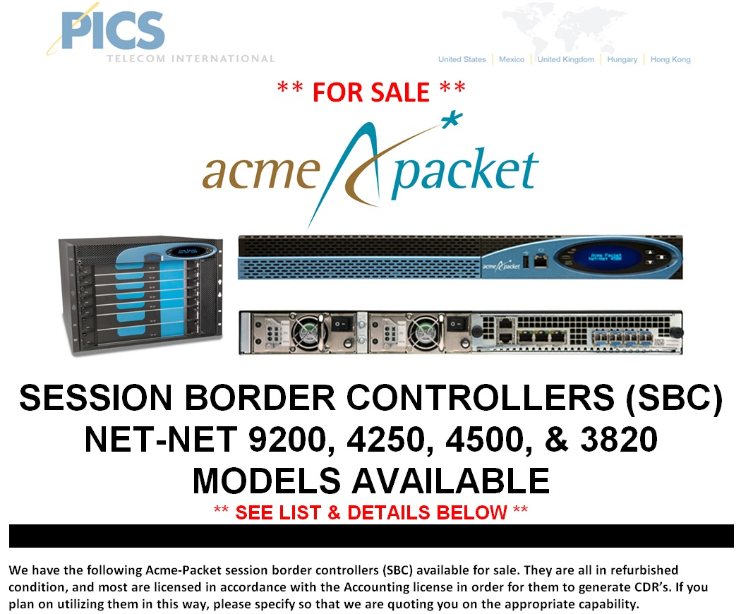 Acme-Packet SBC Units For Sale Top (6.26.14)