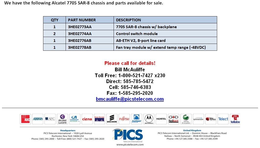 Alcatel-Lucent 7705 SAR-8 Parts For Sale Bottom (6.25.14)