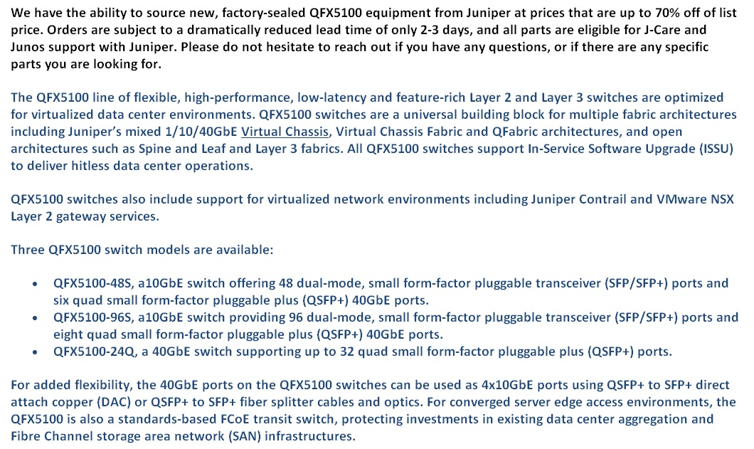 Juniper QFX5100 Switches For Sale Bottom 1 (8.12.14)