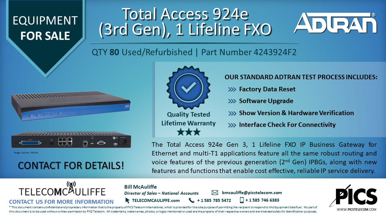 TELCOMCAULIFFE_Adtran924 For Sale